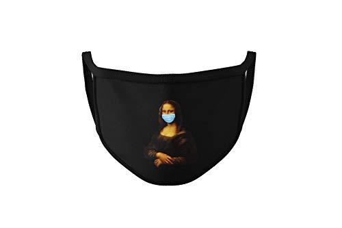 Dilara Lustige Masken mit Aufdruck von Sprüchen und Designs - Maske für Erwachsene, Damen und Herren aus Baumwolle (Mona Lisa)