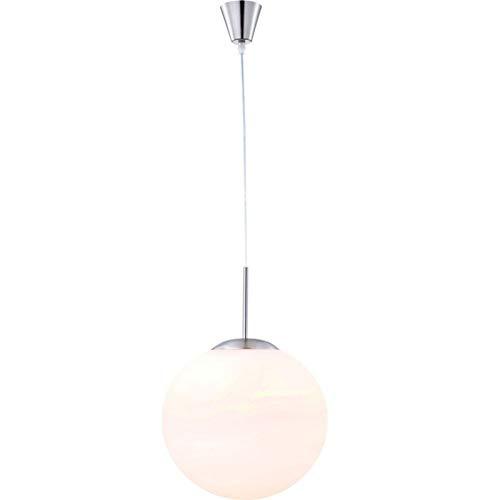 Hängelampe Esszimmer LED 35 cm Pendelleuchte Esstisch Glaskugel Weiß Schlafzimmerlampe (Wohnzimmerlampe Hängend, Höhenverstellbar max 180 cm, Glas Kugel, 9 Watt)
