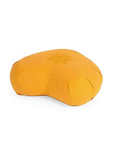 Yoga Studio Lotus Crescent Zafu - Pouf da meditazione con rivestimento in cotone, grano saraceno, maniglia per il trasporto. Accessori per yoga., Giallo
