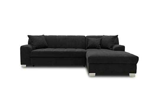 DOMO collection Capri Ecksofa   Eckcouch in L-Form mit Schlaffunktion, Polsterecke Schlafsofa, schwarz, 239x152x75 cm