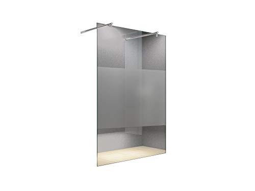 BuyLando.Shop [Typ-Lily] 10mm Walk in Duschwand - Duschabtrennung - Dusche - ESG Glas (120x200cm Satiniert [Mitte] 2x Rund Halter)