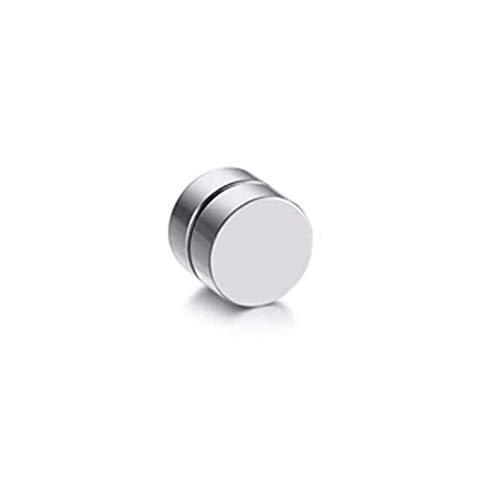 Redondo Hermoso Círculo No Piercing 1 UNIDS Imán Fuerte Magnético Para Hombre Clip De Oreja Ao6mm / 8mm / 10mm / 12mm5 Colores Pendientes Para Niñas ( Main Stone Color : Silver , Metal Color : 8MM )