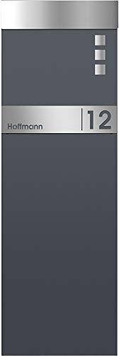 Frabox® Standbriefkasten NAMUR EXKLUSIV in anthrazitgrau RAL 7016 / Edelstahl mit Hausnummer & Namen