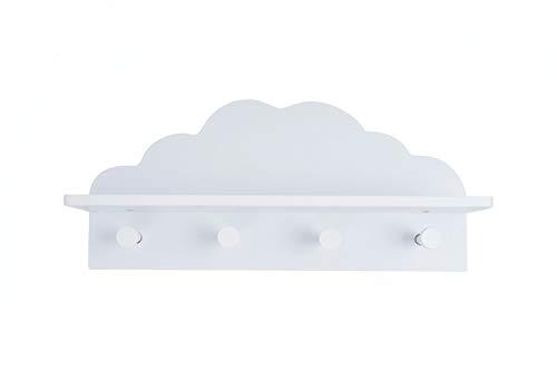 EMAKO Kindergarderobe Regal mit 4 Kleiderhaken für Kinderzimmer Wolkenform Holz Weiß (weiß)