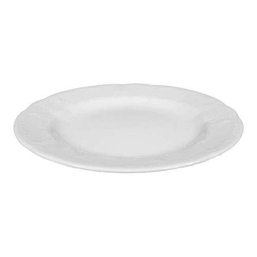 Seltmann 001.600047 Salzburg Porzellan Teller, Flach, Fahne, Rund mit Relief, Weiß, 3 Dekor, 21.1cm Durchmesser, 2.3cm Höhe, 6 Stück