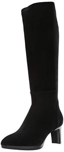 Aquatalia Women's Dale Stretch Suede/Elastic Knee High Boot, Black, 10 M US