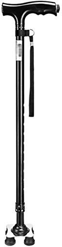 YWYW Bastón Muletas Aleación de Aluminio Bastones de Seguridad para Caminar con Mango ergonómico Ligero 10 Niveles de Altura Ajustable para Hombres o Mujeres Mayores DisabCane 4 Patas Base de Met