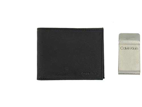 Calvin Klein Men's RFID Protected Bi-Fold Wallet/Money Clip Set (Black)