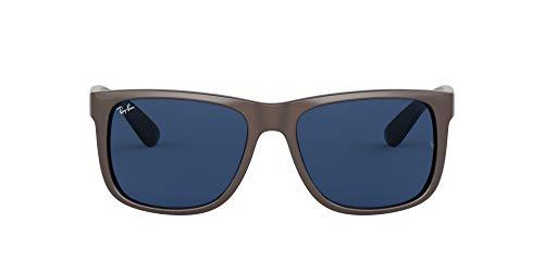 Óculos de sol retangulares Justin Ray-Ban Rb4165, Marrom metálico em preto/azul escuro, 51 mm
