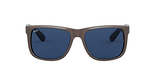 Ray-Ban RB4165 Justin Square Sunglasses, Brown Metallic On Black/Dark Blue, 55 mm