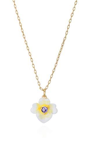Kate Spade New York Precious Pansy Enamel Mini Pendant Necklace Yellow Multi One Size