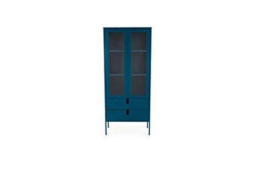tenzo 8565-023 UNO Designer Vitrine 2 Portes, 2 tiroirs, Bleu Pétrole, MDF Particules ép. 19 et 16 mm Panneau arrière laqué. Poignées en matière Plastique, 178 x 76 x 40 cm (HxLxP)