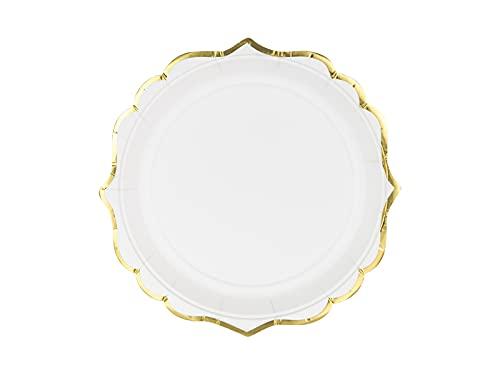 PartyDeco Lot de 6 assiettes jetables en carton - Blanc avec bord doré - 18,5 cm - Pour événement, mariage, anniversaire, fête prénatale, mariage, Noël - TPP30-008