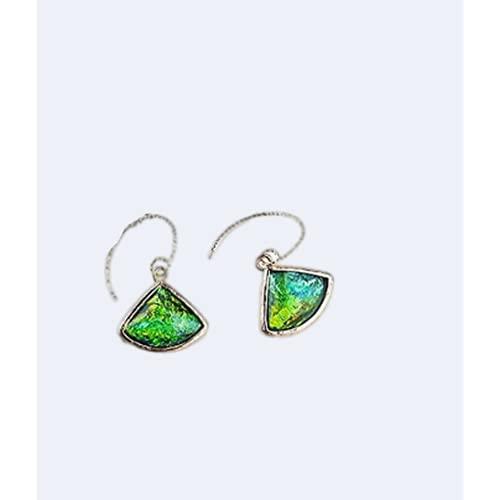 Flixej Pendientes geométricos de Recorte Femenino Verde Azul Pendientes Largos Joyas de Boda