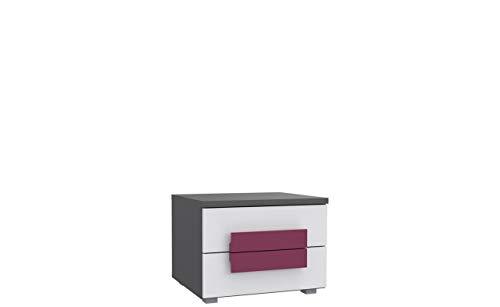 Furniture24 Nachttisch, Nachtschrankm Nachtkommode Libelle LBLK02 mit 2 Schubladen, Schubkastenkommode, Schubladenkommode für Kinder und Jugendzimmer (Grau/Weiß/Violett)