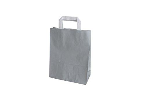 PGV Papiertragetaschen mit Flachhenkel 22 + 10 x 29 cm (50 Stück, HELLGRAU)