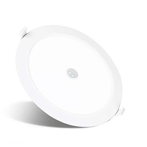 REYLAX® PIR Downlight LED Techo, Con Detector de Movimiento, Tres Temperaturas de Colors Preestablecidas Opcionales 18W 1600lm, Iluminación Empotrada, Driver Integrado Incorporado y Sensor de Luz
