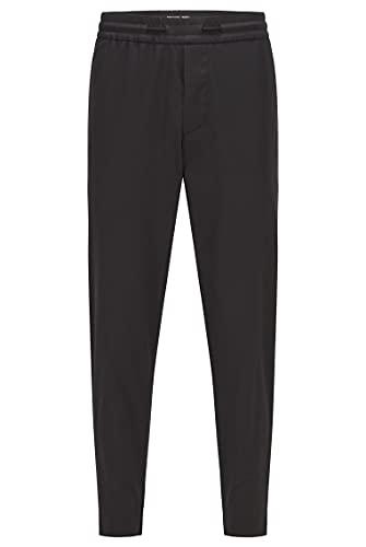 BOSS Hommes Shinobi Leather Pantalon Tapered Fit en Twill Technique avec Passepoil en Similicuir