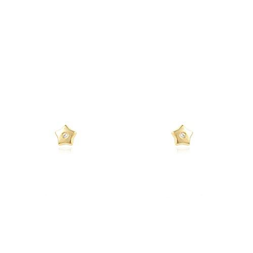 Pendientes Bebe Oro Estrella circon 5 puntas