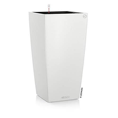 LECHUZA CUBICO Color 40, Weiß, Hochwertiger Kunststoff, Inkl. Bewässerungssystem, Herausnehmbarer Pflanzeinsatz, Für Innen- und Außenbereich, 13150