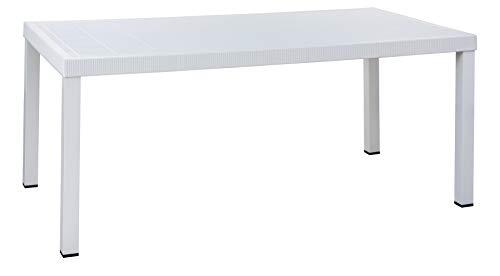 InHouse SRLS Delux Brio Table de jardin avec dessus en résine et pieds en aluminium verni Blanc 180 x 95 x 75 cm.