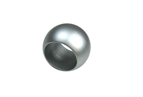 Prodecoshop 8 Schlaufenkugeln, Dekokugeln, Zierkugeln für Gardinen, Kunststoff, Ø Loch 16,5 mm, Chrom matt