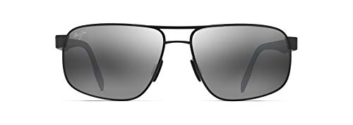 Maui Jim Men's Whitehaven Rectangular Sunglasses, Dark Gunmetal/Neutral Grey Polarized, Large
