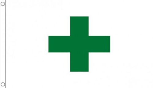 5 ft x 3 ft 150 x 90 cm-Vert-Croix sécurité Medical pharmacie 100% Polyester-matière Drapeau Banniere Idéal pour bar Club Business School Décoration de Fête