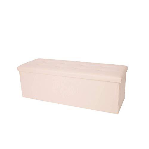 Rebecca Mobili Puf taburete rectangular, asiento contenedor, beige, cuero sintético- Medidas: 38...
