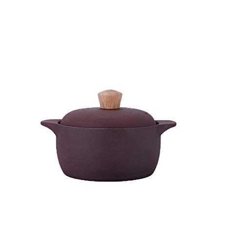 Necesario para el hogar, cazuela de arcilla de estilo chino fuerte y duradero, cazuela de cerámica premium con tapa y orificios de ventilación Sombrero de madera de 2,5 l/3,5 l (tamaño A: A)