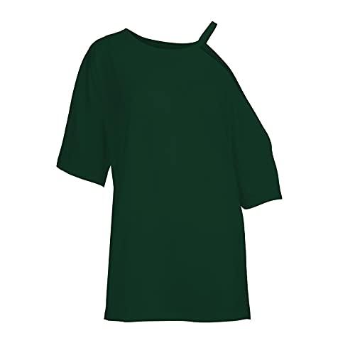 YANFANG Blusa con Hombros Descubiertos,Blusa De Camiseta Un Hombro Sexy Color SóLido Verano para Mujer,Elegantes Moda Vintage Jacquard Suelta Talla Grande Blusas Superior Camisas,4-Verde,S