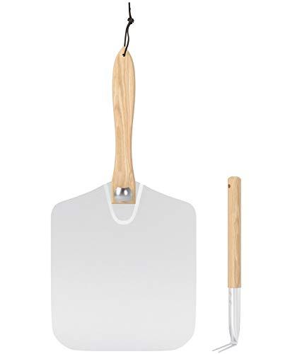 SHINESTAR Pizzaschieber 30,5 cm mit faltbarem Holzgriff und Pizzaschaufel, Metall Pizzaschieber für Ofen, Grill und Backen hausgemachtes Pizzabrot,2 Stück