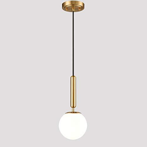 EUL Mid Century Modern Globe Pendant Light Opal Glass Hanging Light Fixture Gold Finish