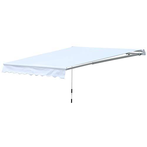 Outsunny Toldo de Pared Enrollable de Exterior con Manivela Manual Protección Solar UV Resistente al Agua 300x250cm Blanco
