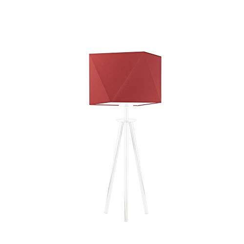 Lámpara para mesita de noche SOVETO pantalla de lámpara Rojo Marco Blanco