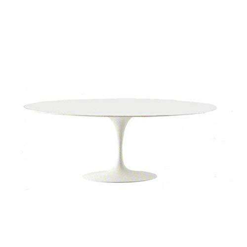Tulip Eero Saarinen Table ovale laminée, liquide, 219 x 121 cm, base blanche