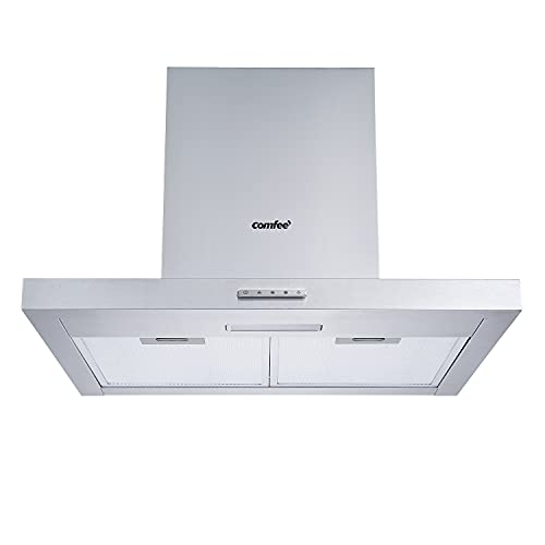 COMFEE' 60 cm Chimney Cooker Hood TSHM17SS-60 Stainless Steel Extractor Hood with LED and Recirculating & Ducting System Wall Mounted Range Hood 600 mm Extractor Fan - Silver