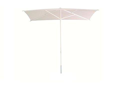 Palma FIM Parasol cm. 250x140 Pôle en aluminium de couleur blanche et tissu Olefin de couleur crème