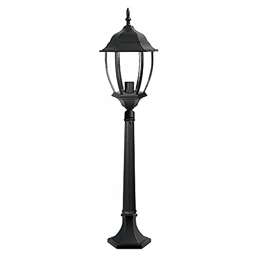 Gloriashoponline LAMPIONE LAMPIONCINO DA TERRA PER GIARDINO ESTERNO LANTERNA IN VETRO ES39 NERO