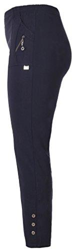 FASHION YOU WANT Damen Elegante Stretchhose mit Elasthan und Knopfapplikationen Übergröße Gr. 40/42 42/44 44/46 46/48 48/50 50/52 52/54 54/56 (46/48, blau)