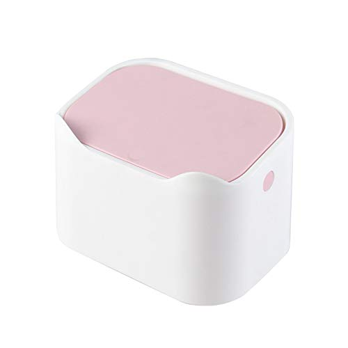 QJJ Simplicidad La Basura de Escritorio Puede una Mini Mesa de Estar de Dormitorio pequeña, Mesa de café con Tapa para Ver el Color, Rosa y Blanco una Sola Basura. Organizar el Espacio (Color : Pink)