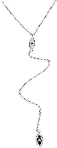 AOAOTOTQ Co.,ltd Collar de Plata de Moda para Mujer, joyería de Cadena Larga para Mujer, Collar con Lazo en Y Plateado de Verano para Mujeres y Hombres, Regalo
