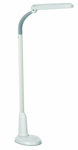 OttLite 24w Craft Plus Floor Lamp – White Modern Home Decor, Adjustable Neck, Bright Natural Daylight for Crafting, Sewing, Reading, Bedroom, Dorm, Office