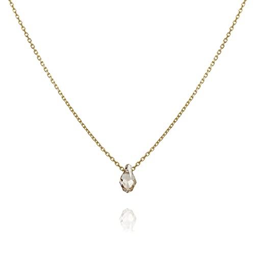 Handmade Short Gold Filled Necklace With Swarovski Teardrop Pendant