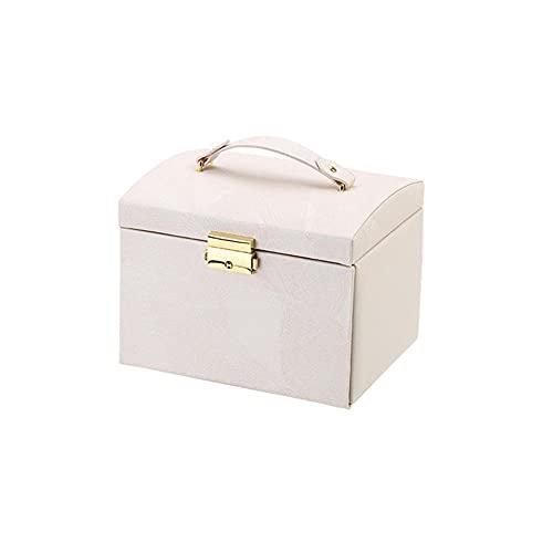 POMNEFE Joyero, caja de joyería de cuero de gran capacidad, caja de joyería con espejo, caja de joyería de diseño simple