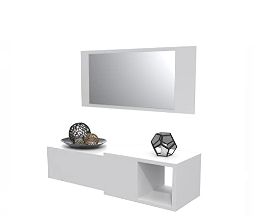 Dormidán- Mueble recibidor con cajón más Espejo, 1m de Ancho, (Blanco)