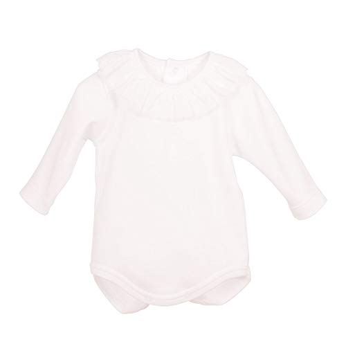 CALAMARO 5355-19058-BLANCO-3M - Bodi Cuello PLUMETI bebé-niños Color: Blanco Talla: 3 Months