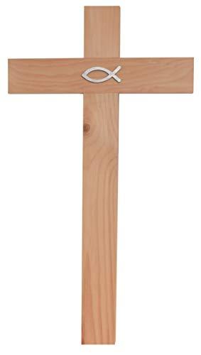 Kaltner Präsente Geschenkidee - 35 cm Wandkreuz Echt Zirbe Holz Kreuz Holzkreuz Kruzifix für die Wand klassisch mit Fisch Ichthys Symbol
