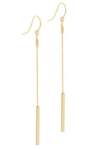 TOM SHOT Damen-Ohrringe edle Ohrhänger mit einem Stift-Anhänger an einer Kette aus Messing mit 18 Karat vergoldet Länge 8 cm - 87or0113g
