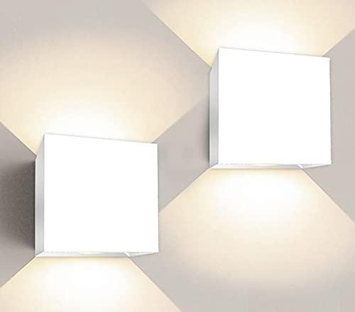 Apliques Pared led Set 2 uds Forma Cuadrada 6W Aplique Pared Interior Salon Dormitorio pasillos Negocios lampara Pared Color Blanco luz Calida ✅